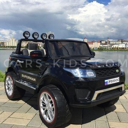 Электромобиль 4WD Range Rover XMX601 (Happer Superman) 2-х местный, синий (усиленный аккумулятор, резиновые колеса, кожа, пульт, музыка, глянцевая покраска)