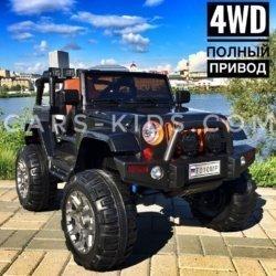 Электромобиль Jeep Wrangler черный (полный привод, усиленный аккумулятор, резиновые колеса, кожаное кресло, пульт, музыка)