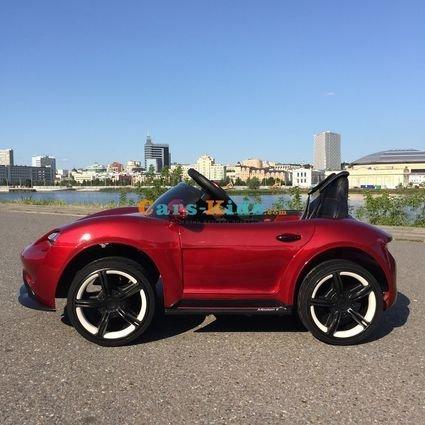 Электромобиль Porsche Sport М777МР красный (колеса резина, кресло кожа, пульт, музыка)